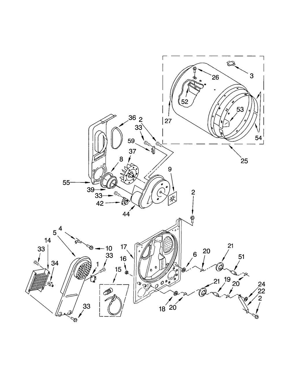 medium resolution of 11062622101 electric dryer bulkhead parts diagram