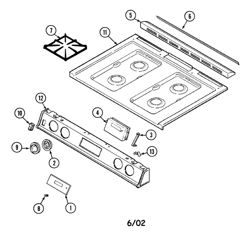 small resolution of 6498vtv gas range top assembly parts diagram