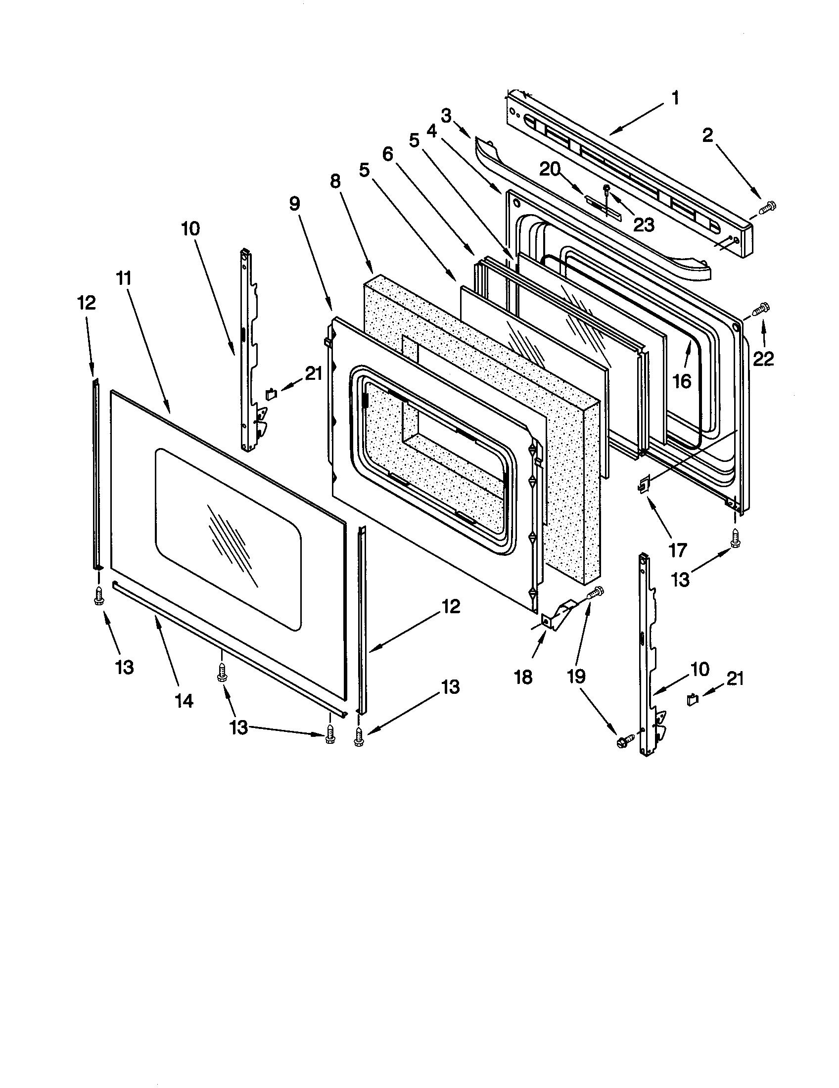 hight resolution of 66595812000 electric range door parts diagram
