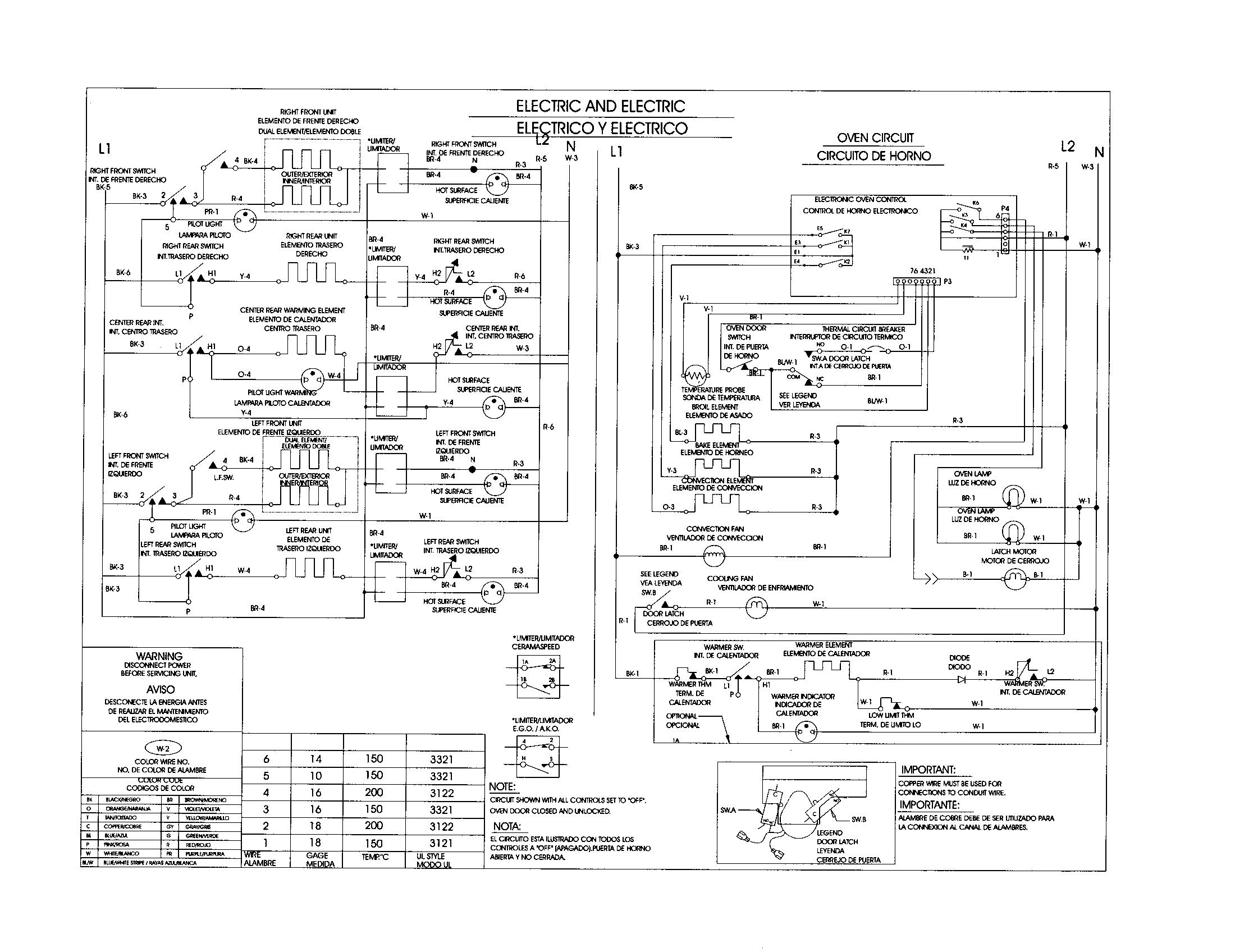 wiring diagram for kenmore range