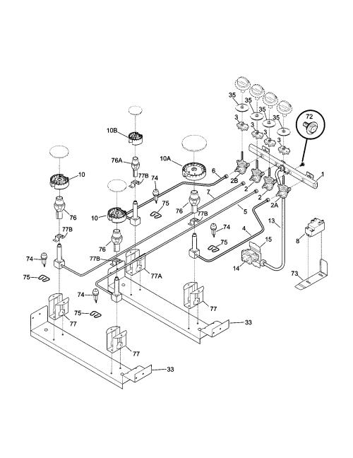 small resolution of 79046819992 elite dual fuel slide in range burner parts diagram