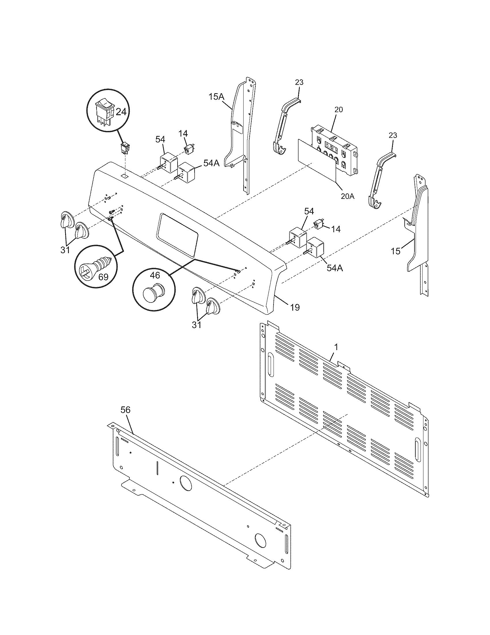 hight resolution of 79095042503 electric range backguard parts diagram