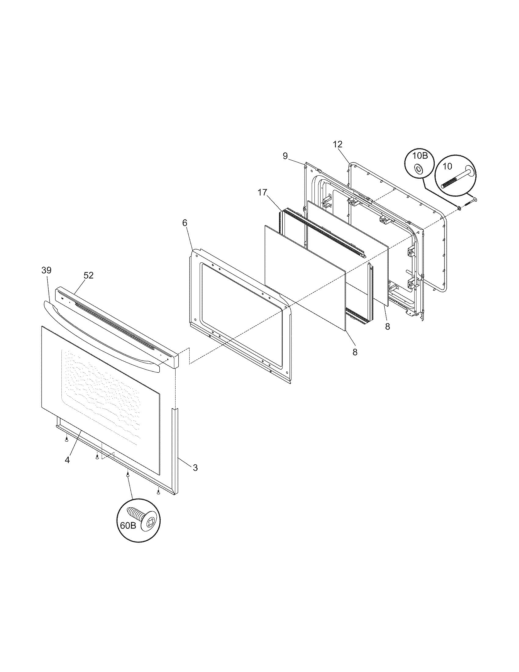 hight resolution of 79095042503 electric range door parts diagram