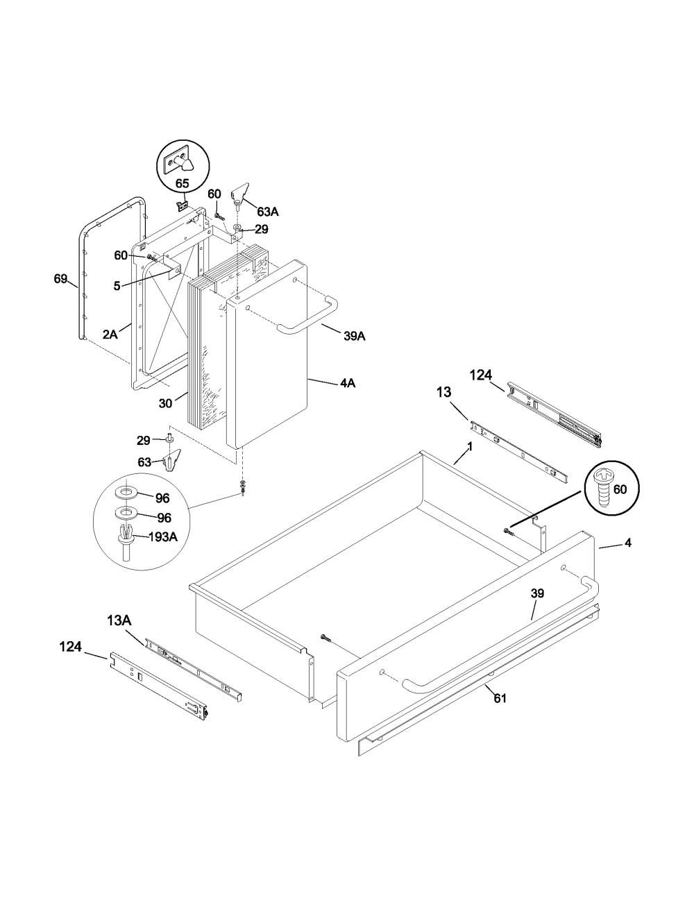 medium resolution of 79099503993 elite electric range drawer small door parts diagram