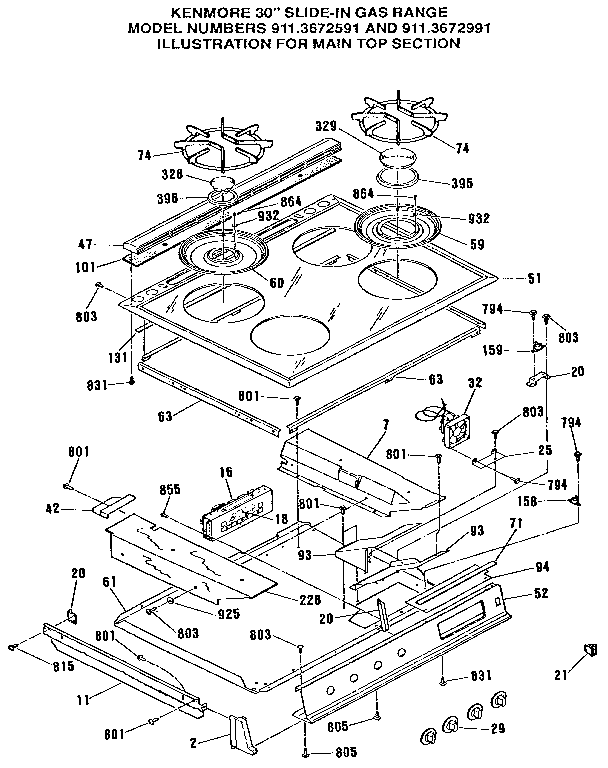 kenmore gas range wiring diagram parts model 79075727990