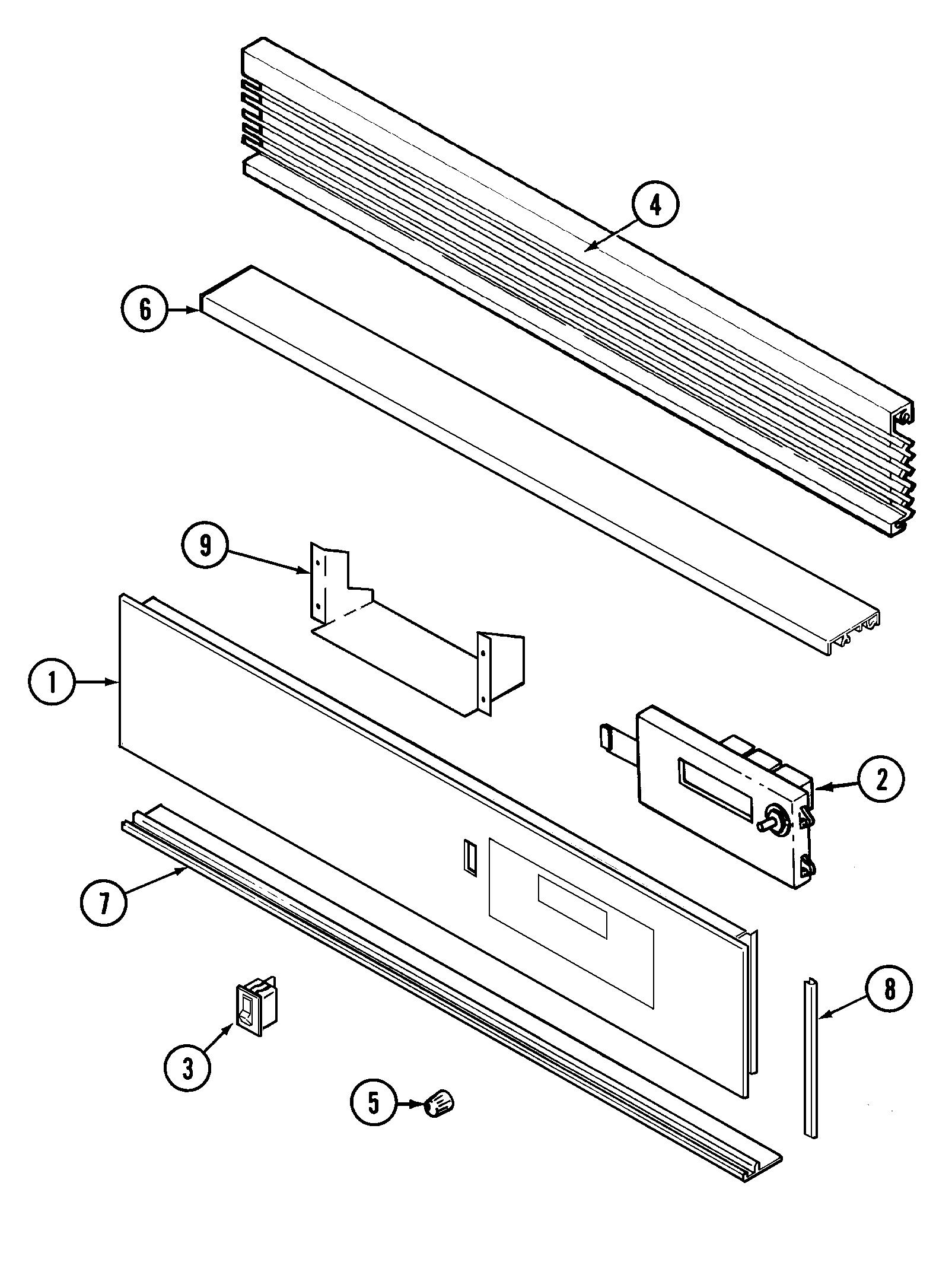 hight resolution of 9475xvb range control panel parts diagram