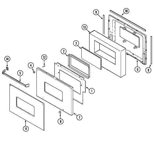 small resolution of 9825vuv electric oven door lower parts diagram magic chef