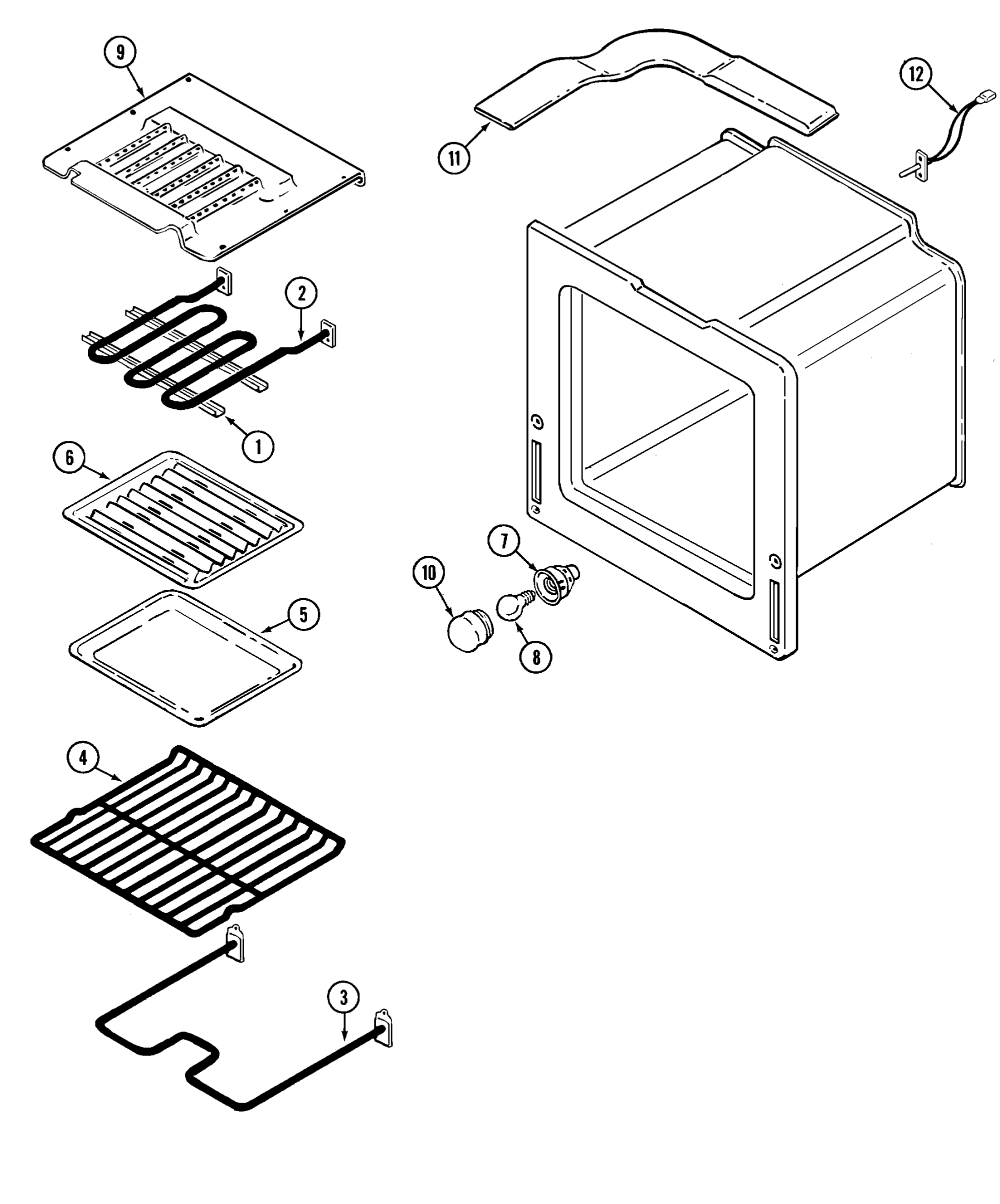 hight resolution of oven parts diagram