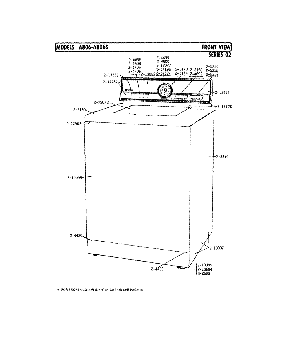 medium resolution of a806 washer front view series 2 parts diagram