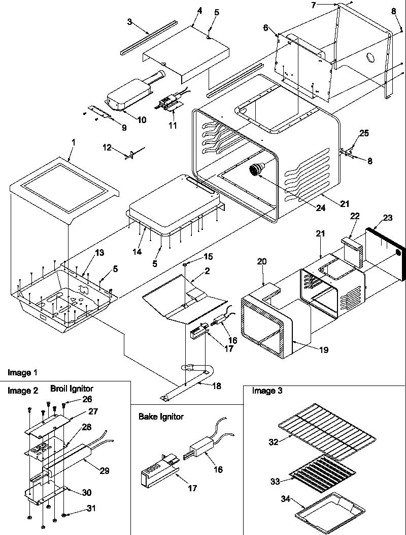 hight resolution of arg7600ll gas range cavity parts diagram