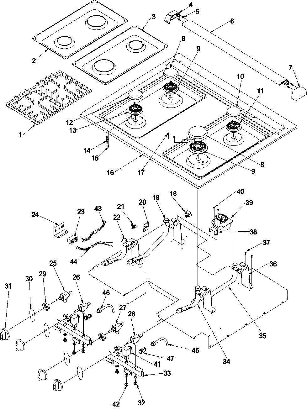 hight resolution of args7650ll gas range main top parts diagram