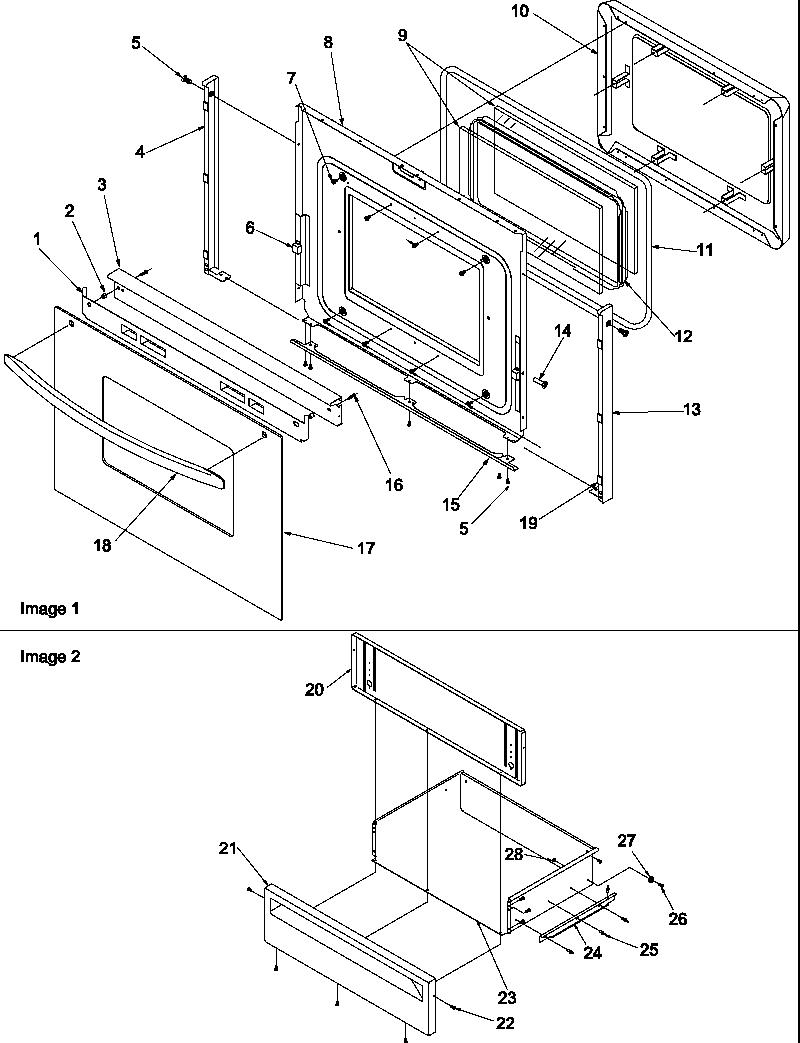 medium resolution of art6511ww electric range oven door and storage door parts diagram