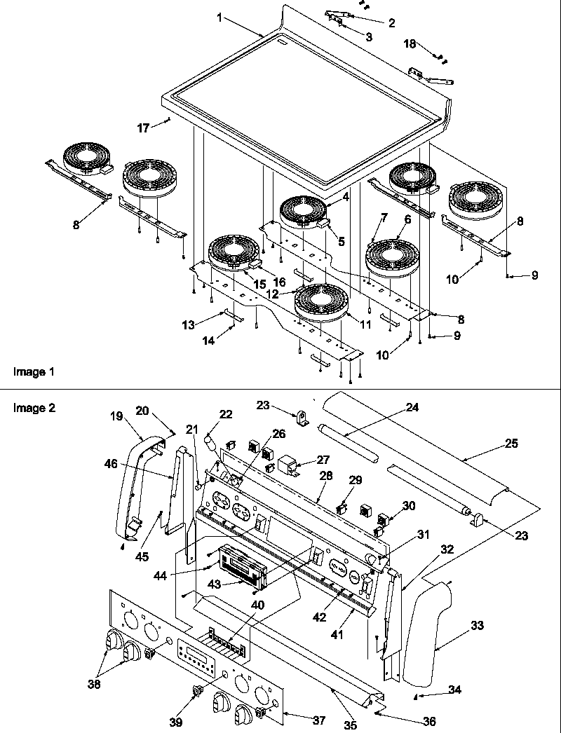 hight resolution of art6610ww electric range and oven main top and backguard parts diagram