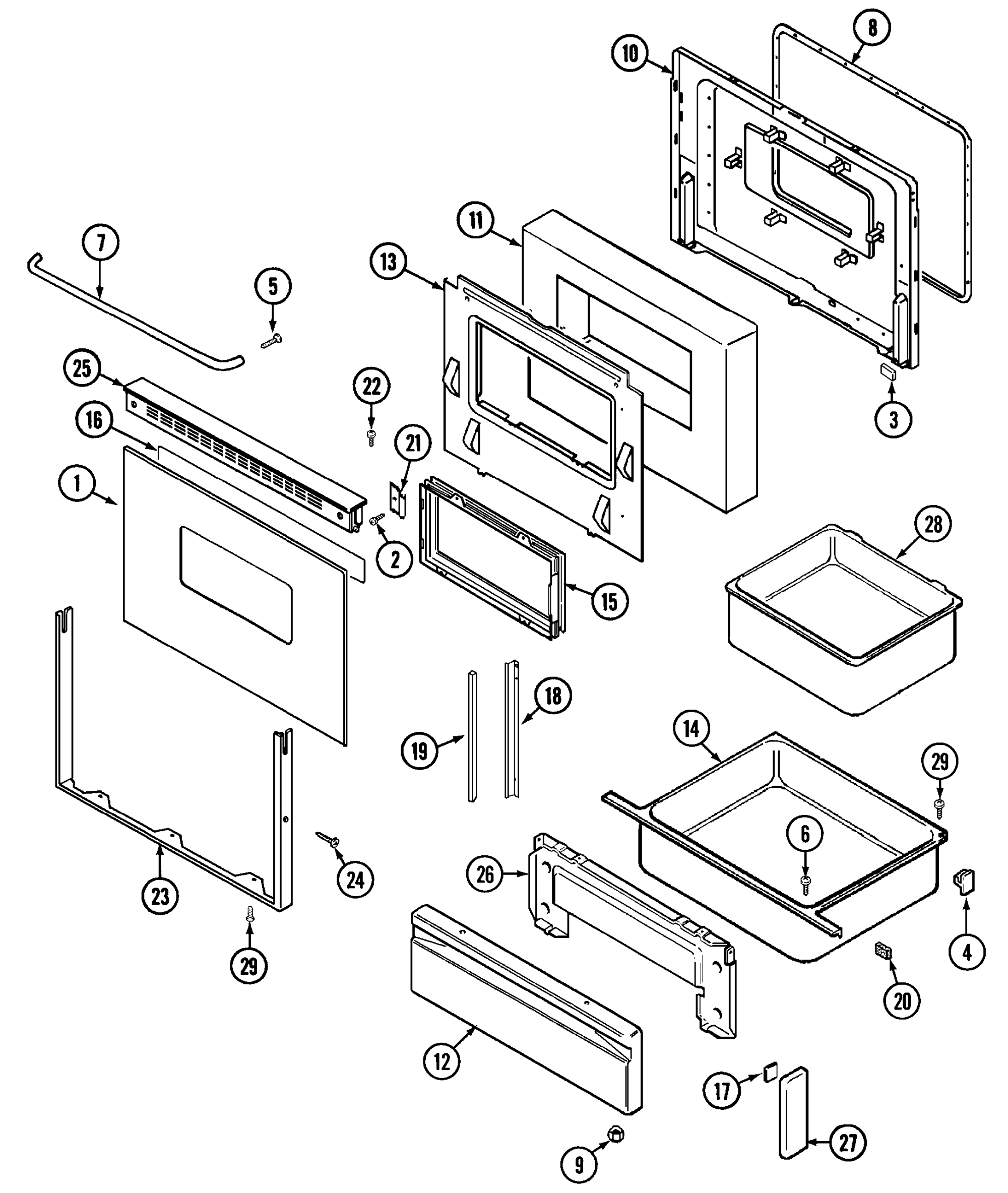 hight resolution of cre9400acl range door drawer parts diagram
