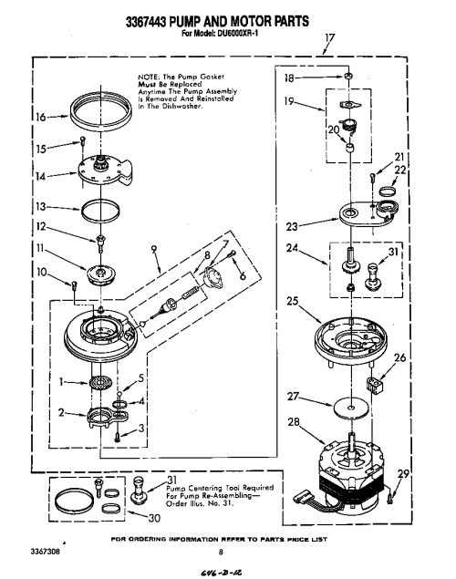 small resolution of du6000xr1 dishwasher 3367443 pump and motor parts diagram wiring harness parts diagram