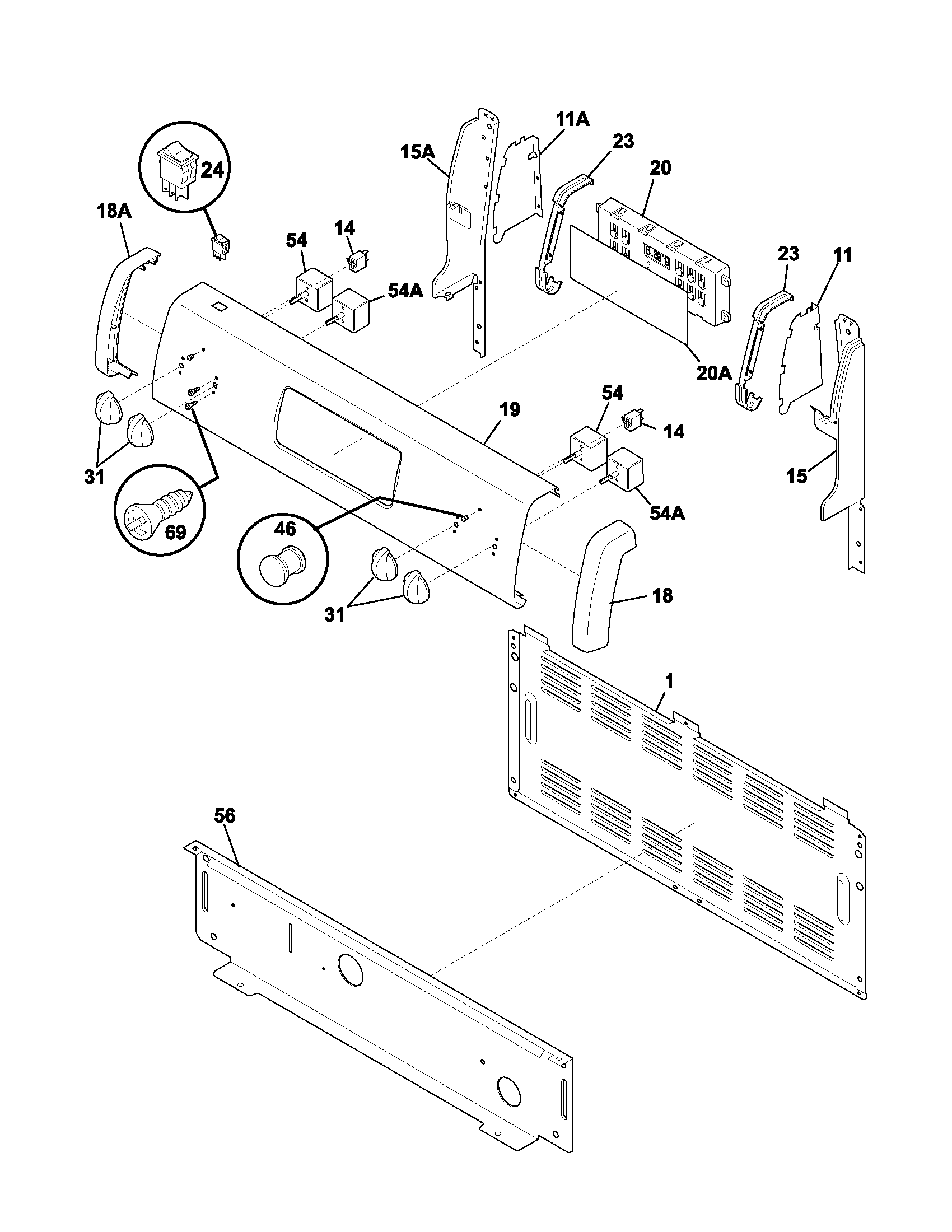 hight resolution of fef352asf electric range backguard parts diagram