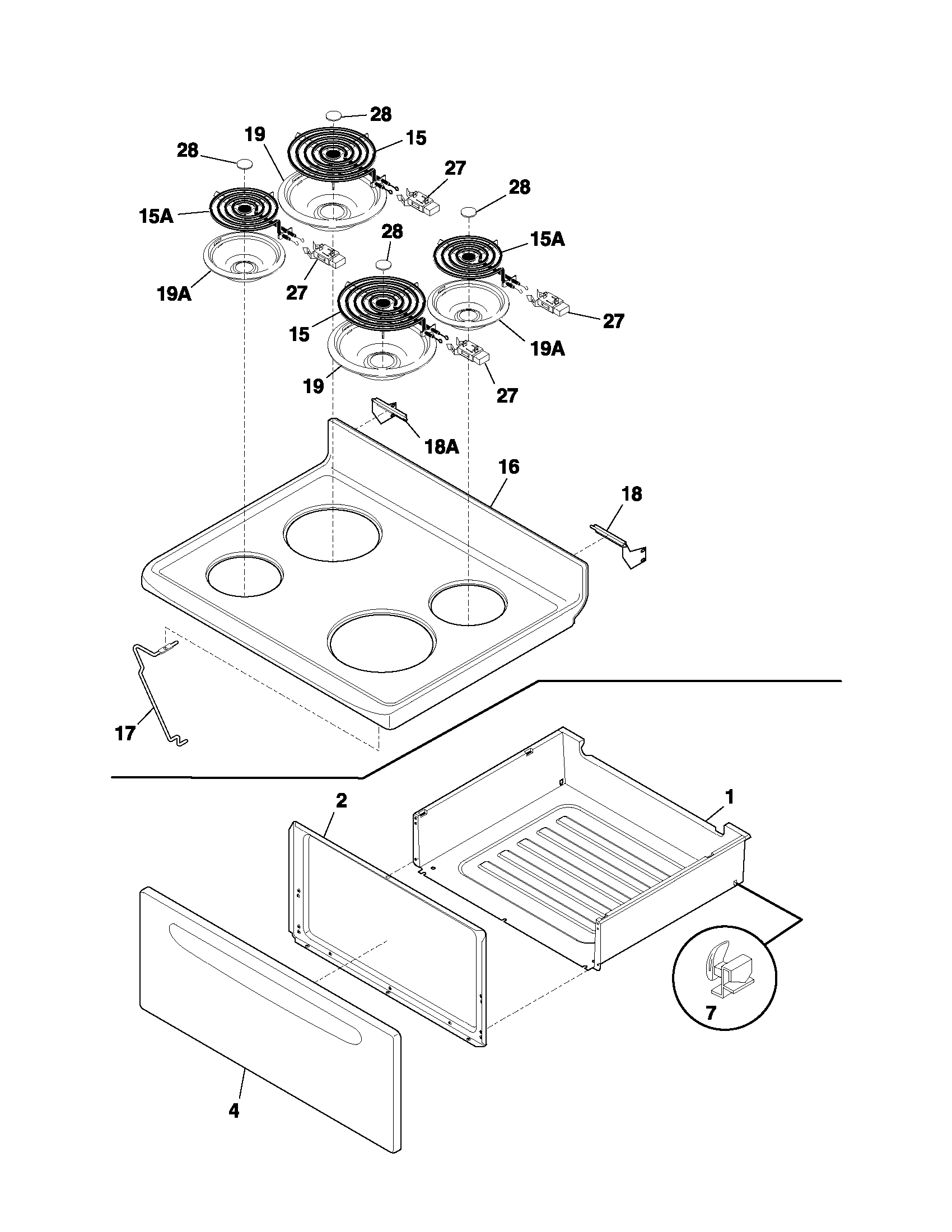 hight resolution of fef352asf electric range top drawer parts diagram