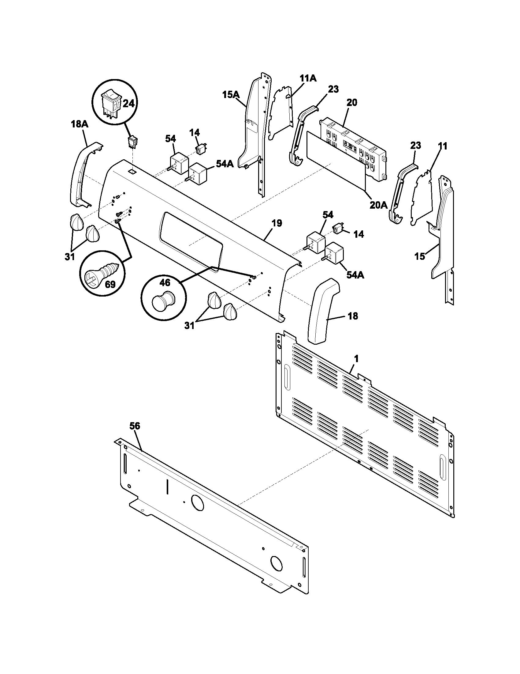 hight resolution of fef352aug electric range backguard parts diagram