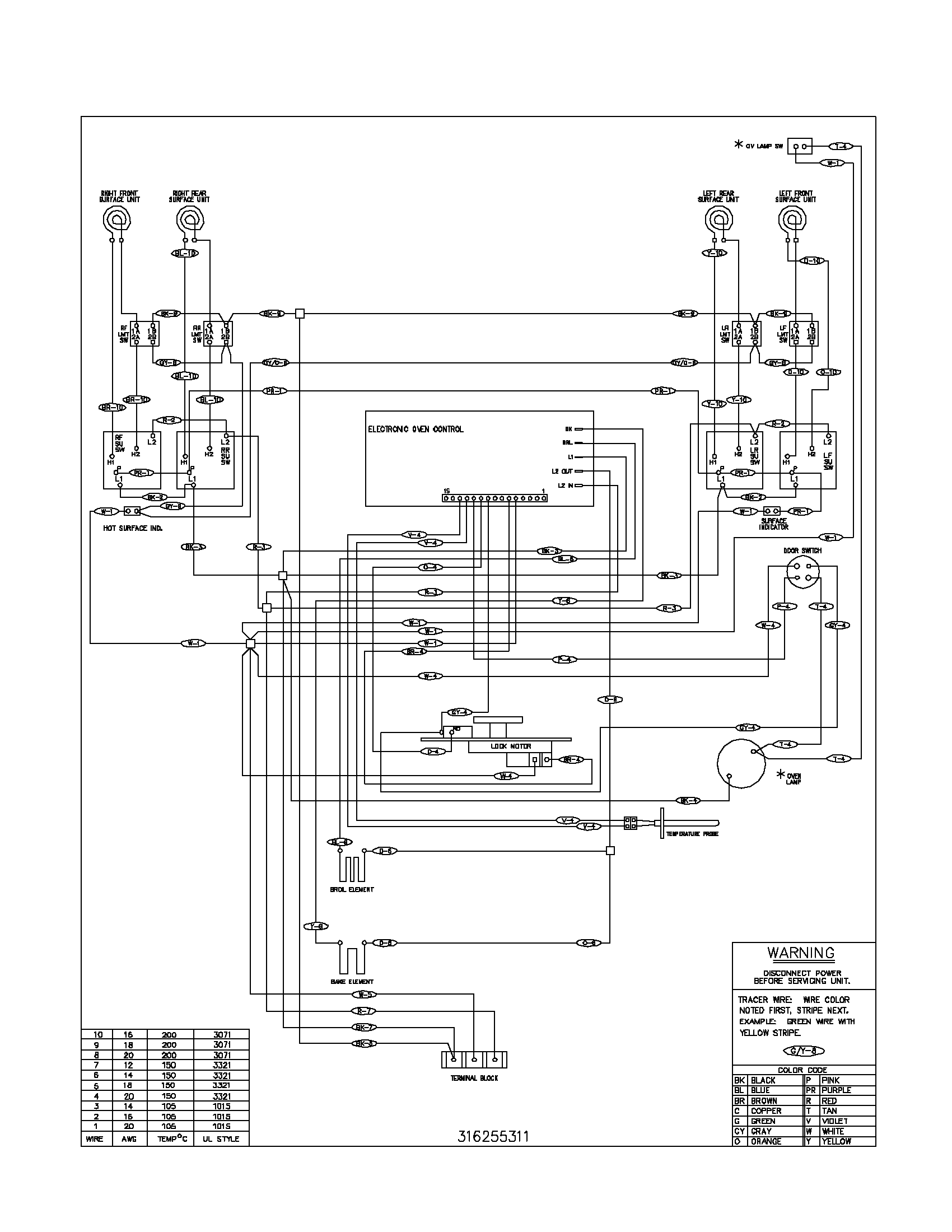 wiring diagram for garland oven