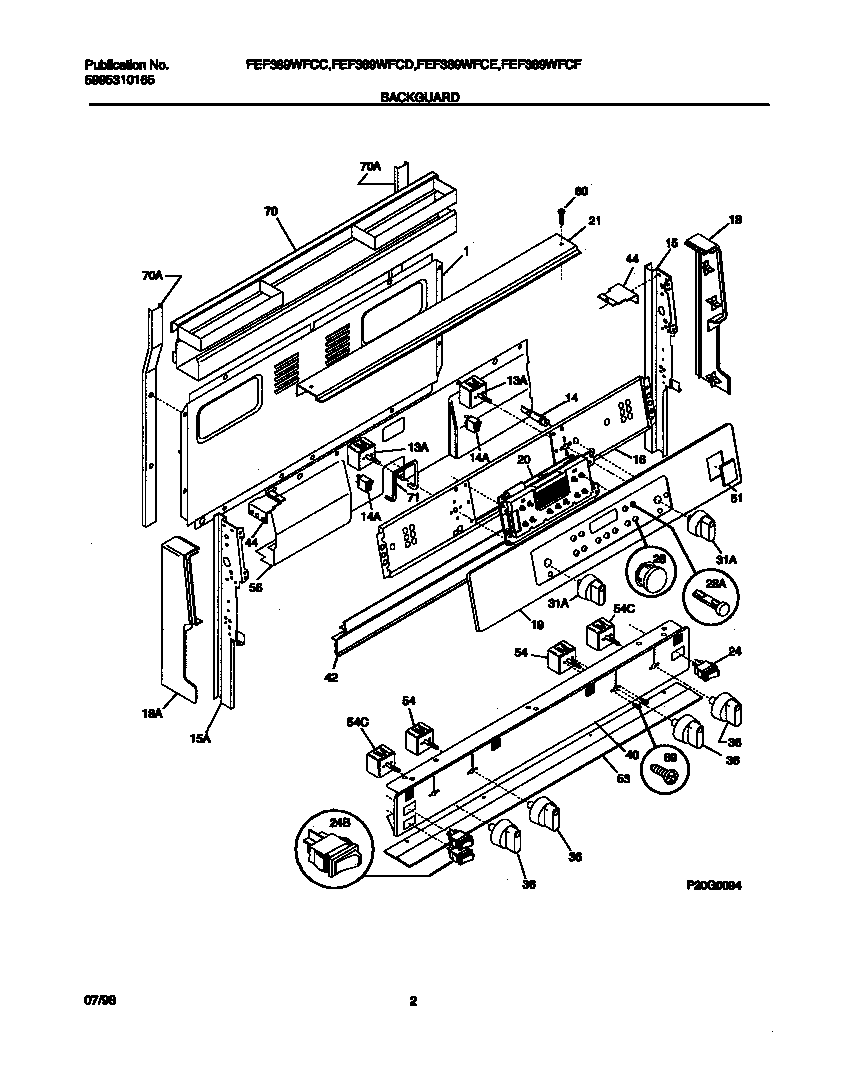 hight resolution of fef389wfcd electric range backguard parts diagram