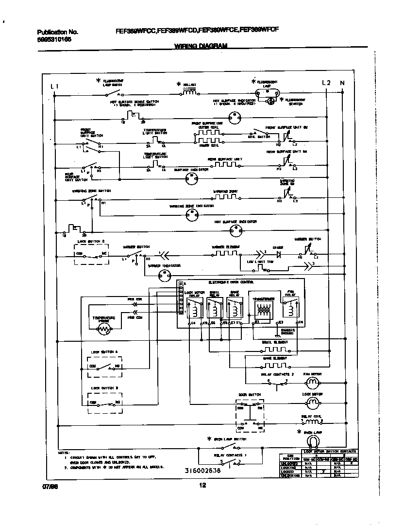 hight resolution of fef389wfcd electric range wiring diagram parts diagram