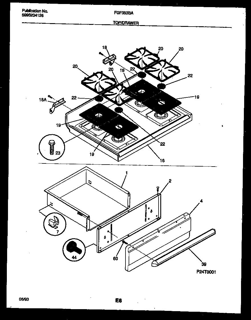 medium resolution of fgf353bawa range gas cooktop and drawer parts diagram