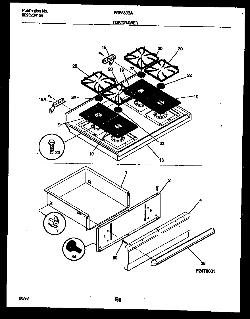 hight resolution of fgf353bawa range gas cooktop and drawer parts diagram