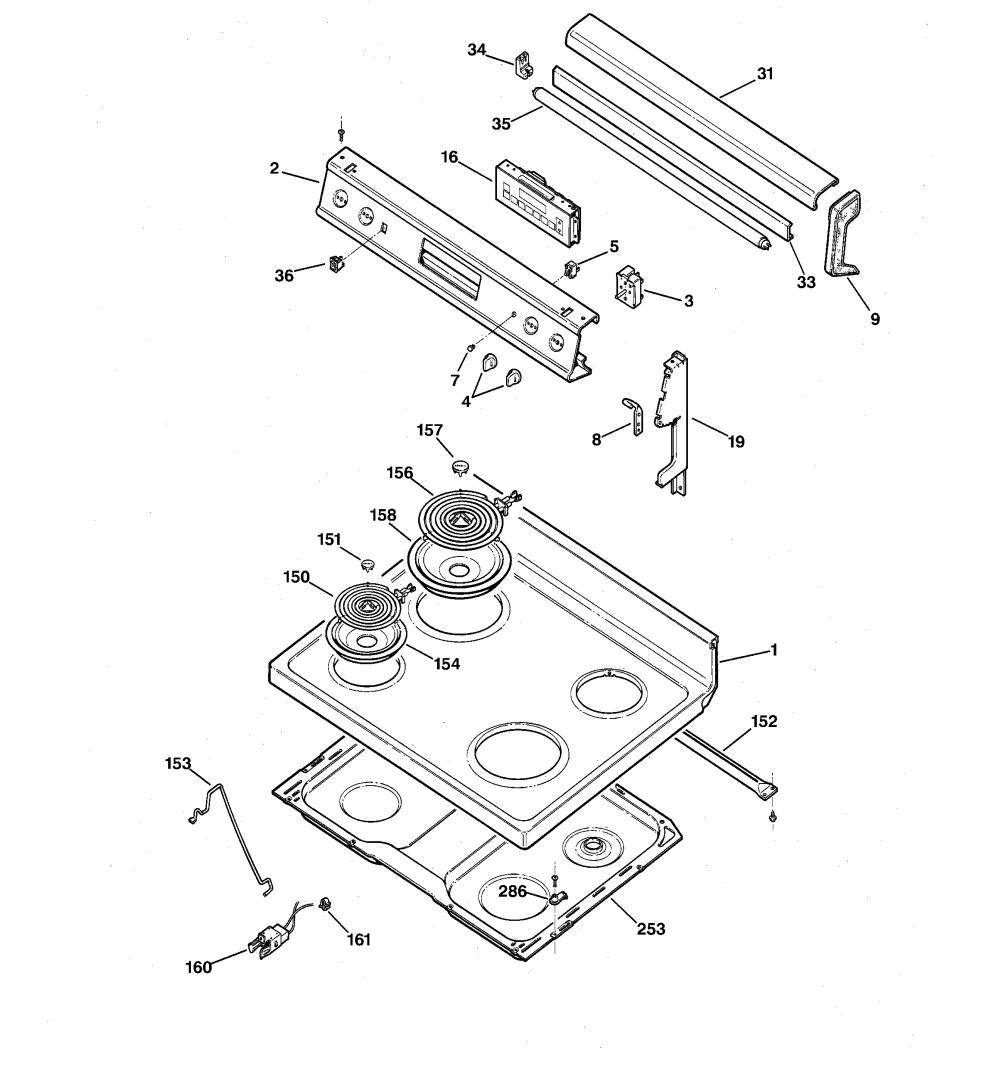 medium resolution of jbp56gr1wh electric range control panel cooktop parts diagram