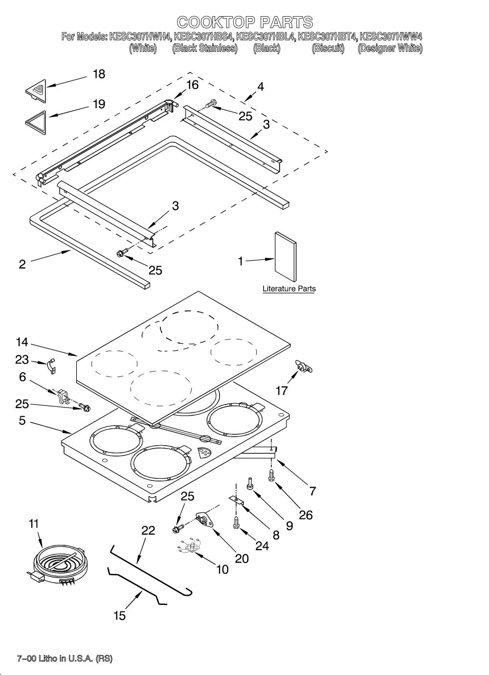 medium resolution of kesc307hbt4 electric slide in range cooktop literature parts diagram