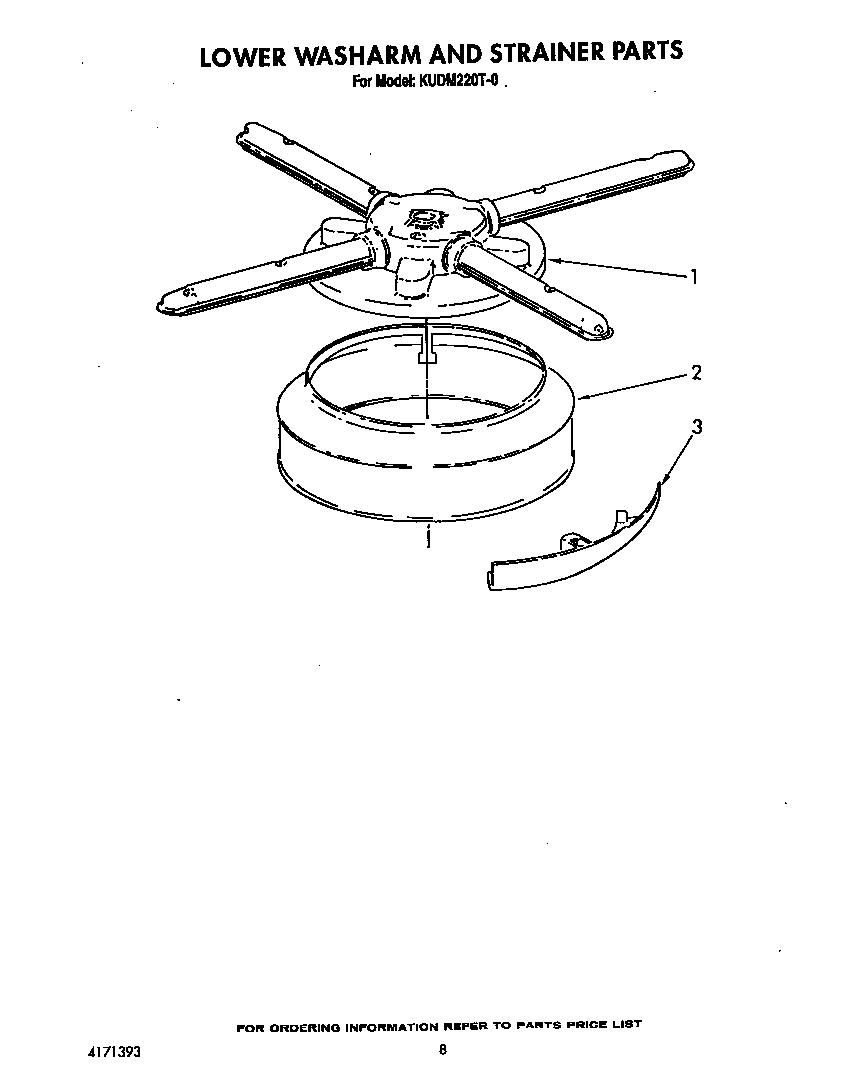 hight resolution of kudm220t0 dishwasher lower washarm and strainer parts diagram