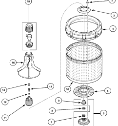 lwa40aw2 top loading washer agitator drive bell and wash tub parts diagram [ 979 x 1308 Pixel ]