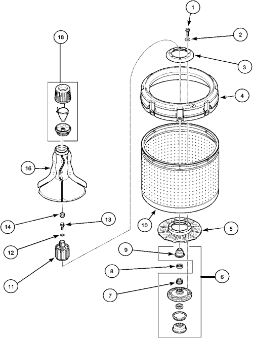 small resolution of lwa40aw2 top loading washer agitator drive bell and wash tub parts diagram