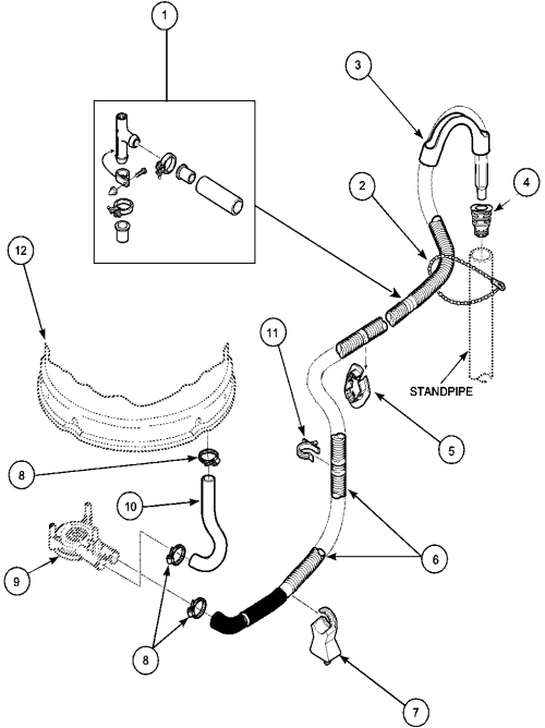 small resolution of lwa40aw2 top loading washer drain hose and siphon break parts diagram