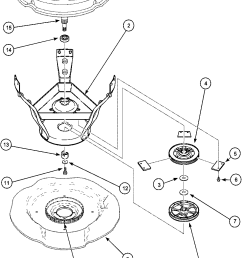 lwa40aw2 top loading washer weldment bearing assy and brake pulley parts diagram [ 979 x 1308 Pixel ]
