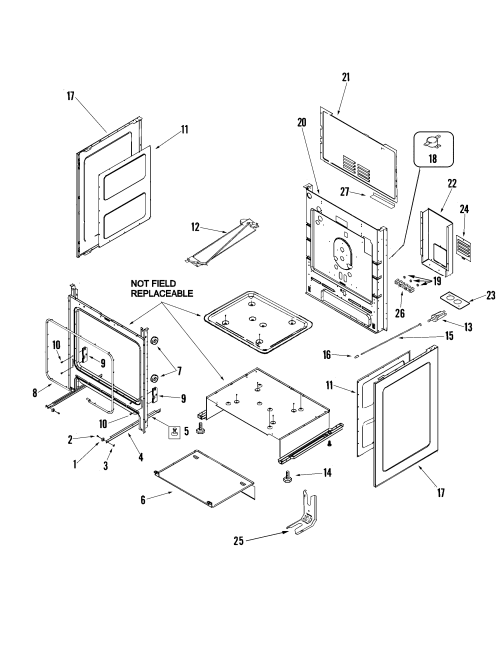 small resolution of mer5875qcf range cabinet parts diagram