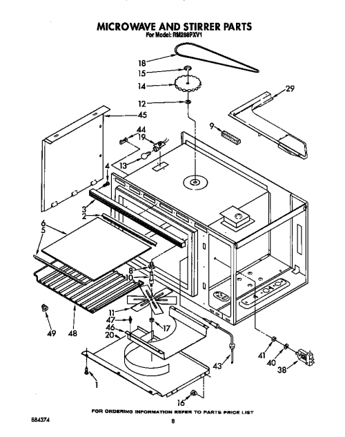small resolution of rm288pxv electric built in oven with microwave microwave and stirrer parts diagram