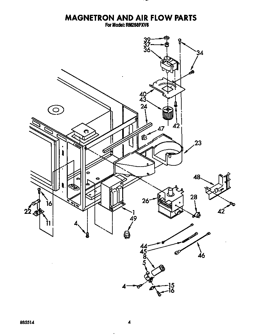hight resolution of rm288pxv6 electric built in oven with microwave magnetron and air flow parts diagram