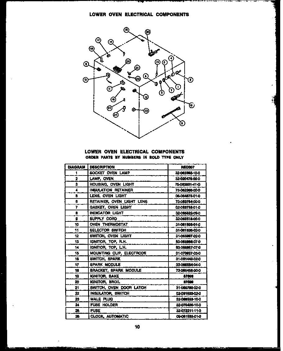 medium resolution of rsd30 gas ranges lower oven electrical components parts diagram