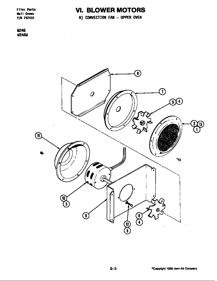 medium resolution of w246 electric wall oven blower motor convection fan w246w parts diagram