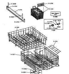 wu1000 dishwasher track rack assembly parts diagram [ 848 x 1100 Pixel ]