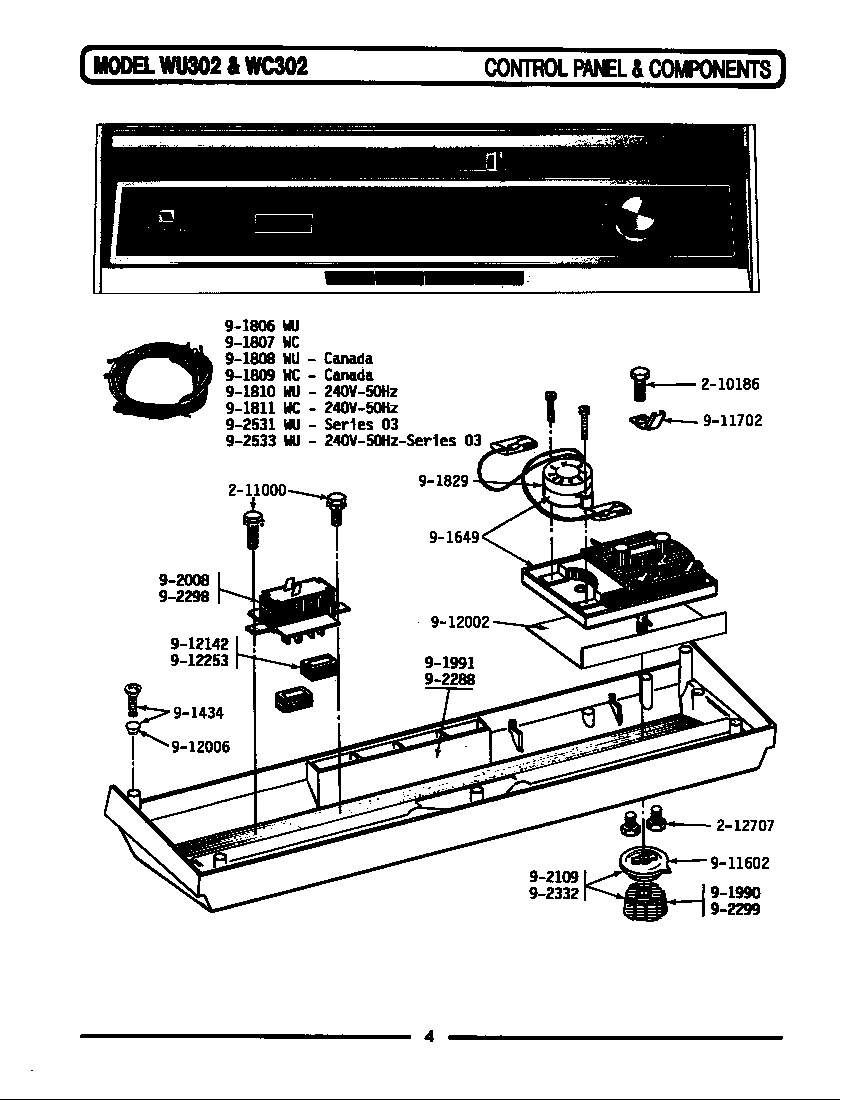 hight resolution of wu482 dishwasher control panel components parts diagram