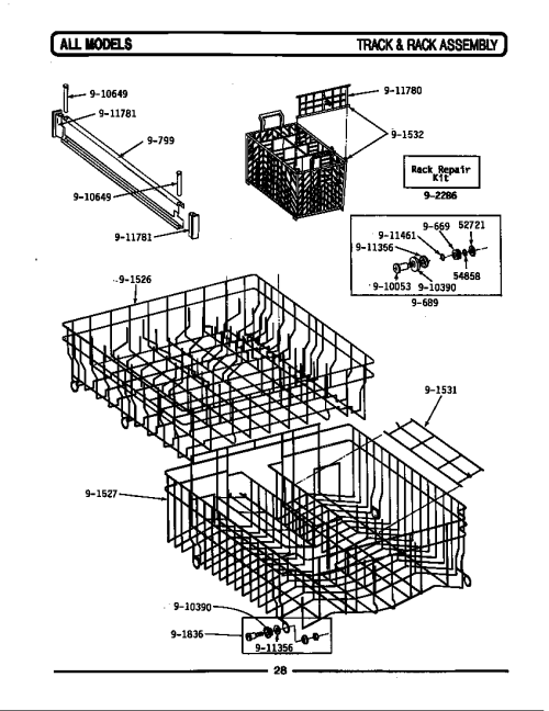 small resolution of wu482 dishwasher track rack assembly parts diagram