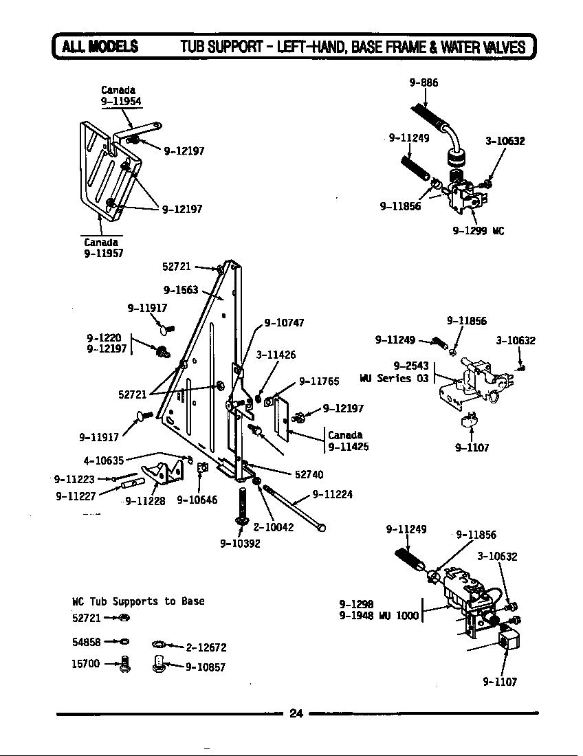 medium resolution of wu482 dishwasher tub support left frame water valves parts diagram