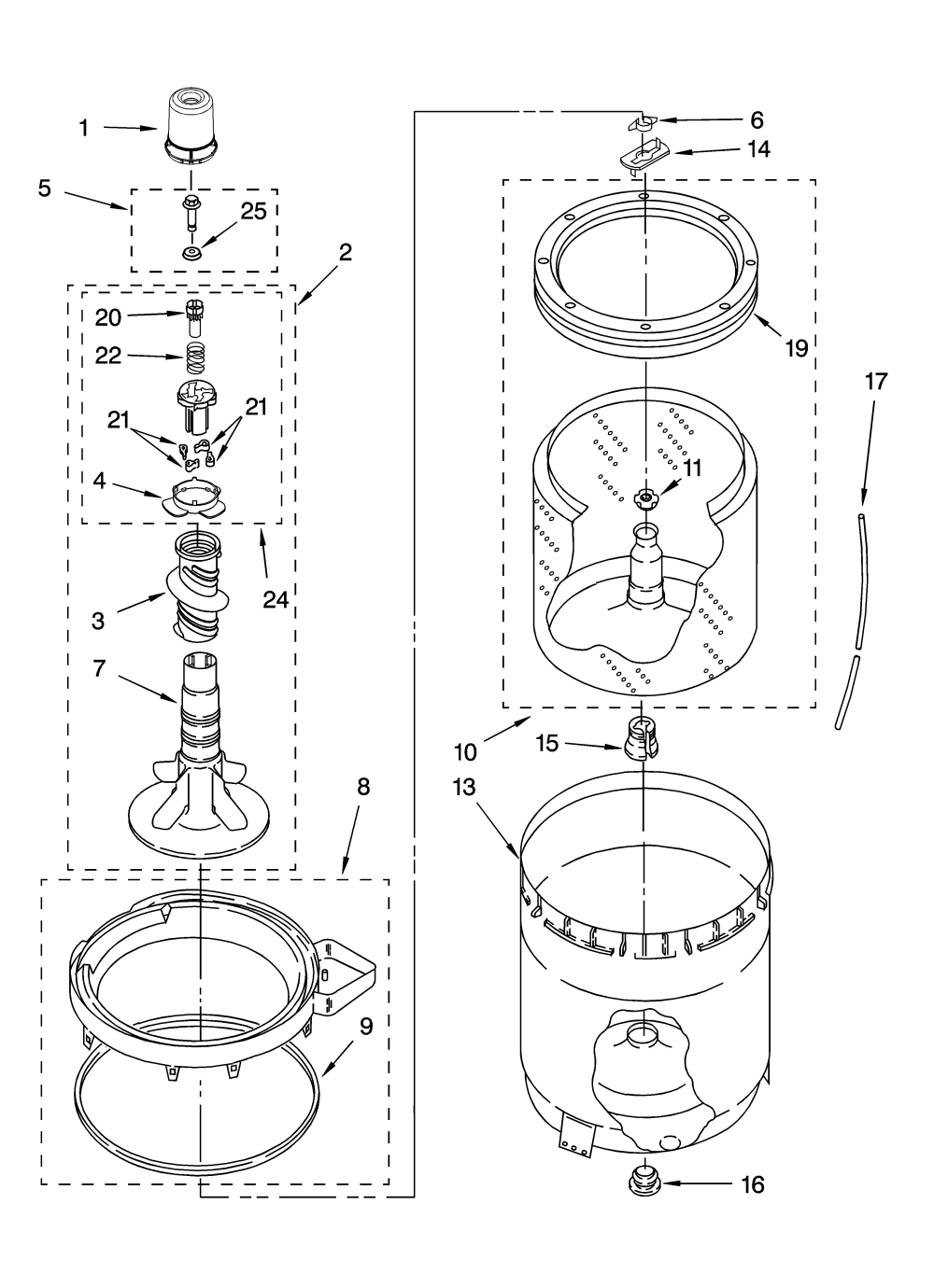 medium resolution of 110258424 automatic washer agitator basket and tub parts diagram