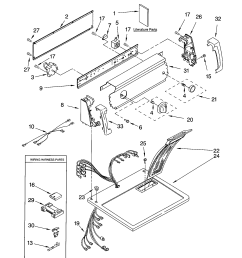 11062622101 electric dryer top and console parts diagram [ 1696 x 2200 Pixel ]
