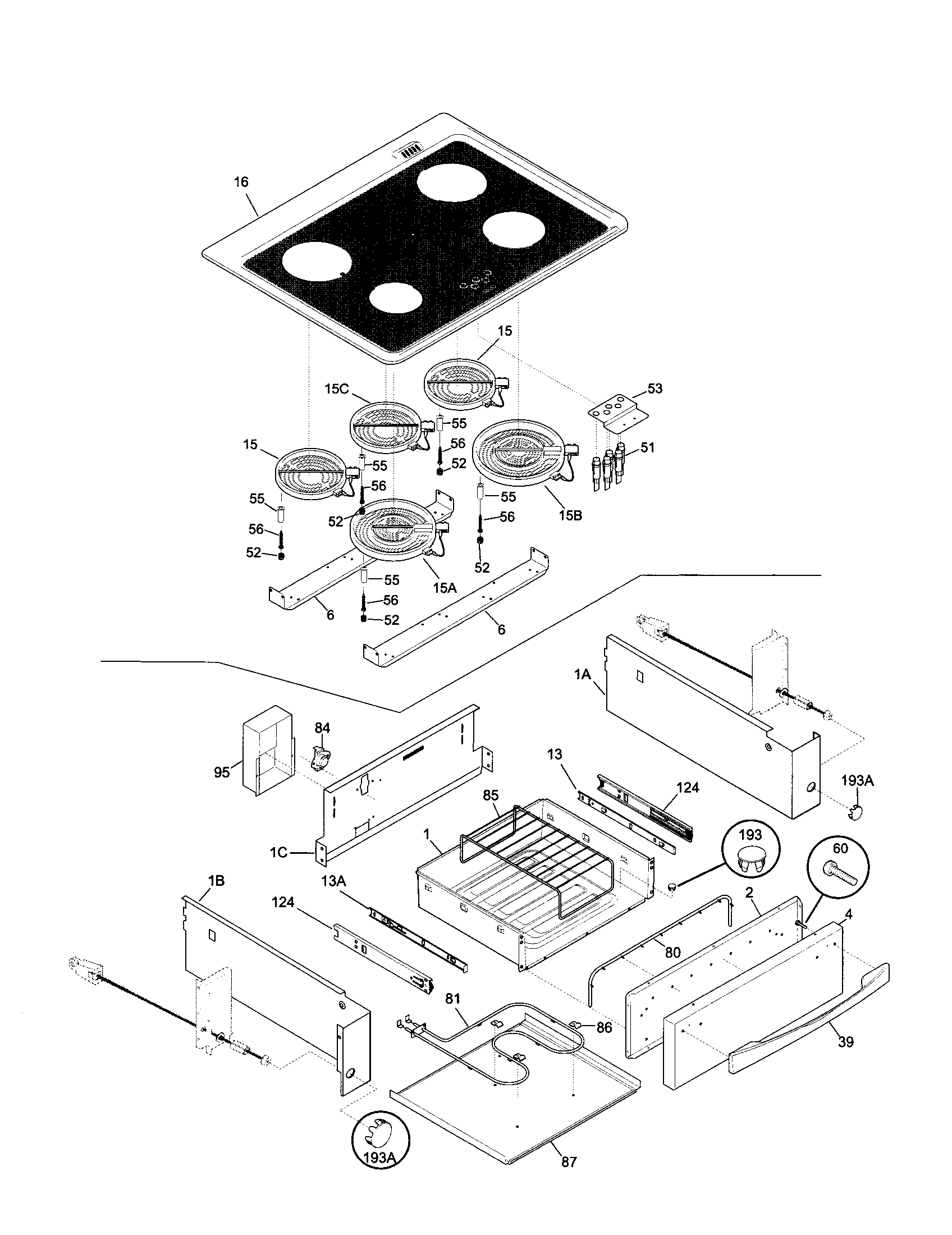 hight resolution of 79046802992 elite electric slide in range top drawer parts diagram