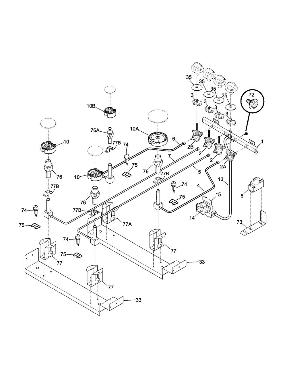 medium resolution of 79046819992 elite dual fuel slide in range burner parts diagram