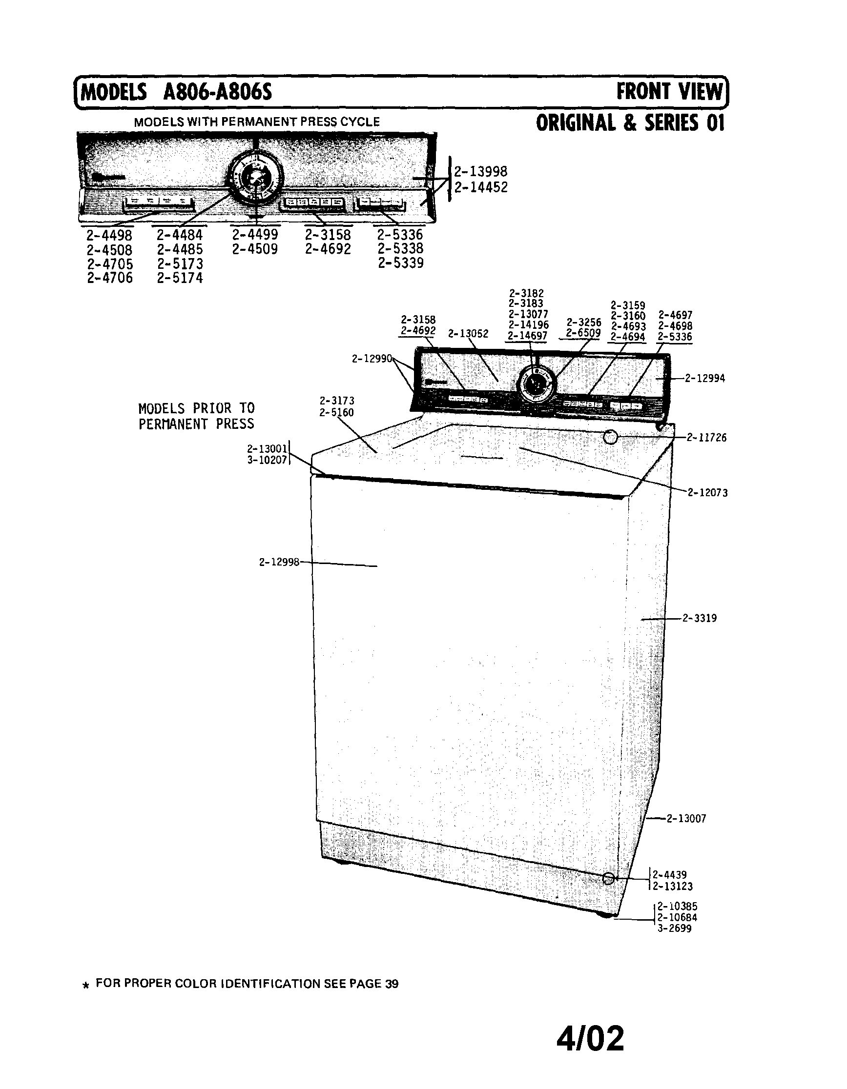 hight resolution of a806 washer front view series 1 parts diagram
