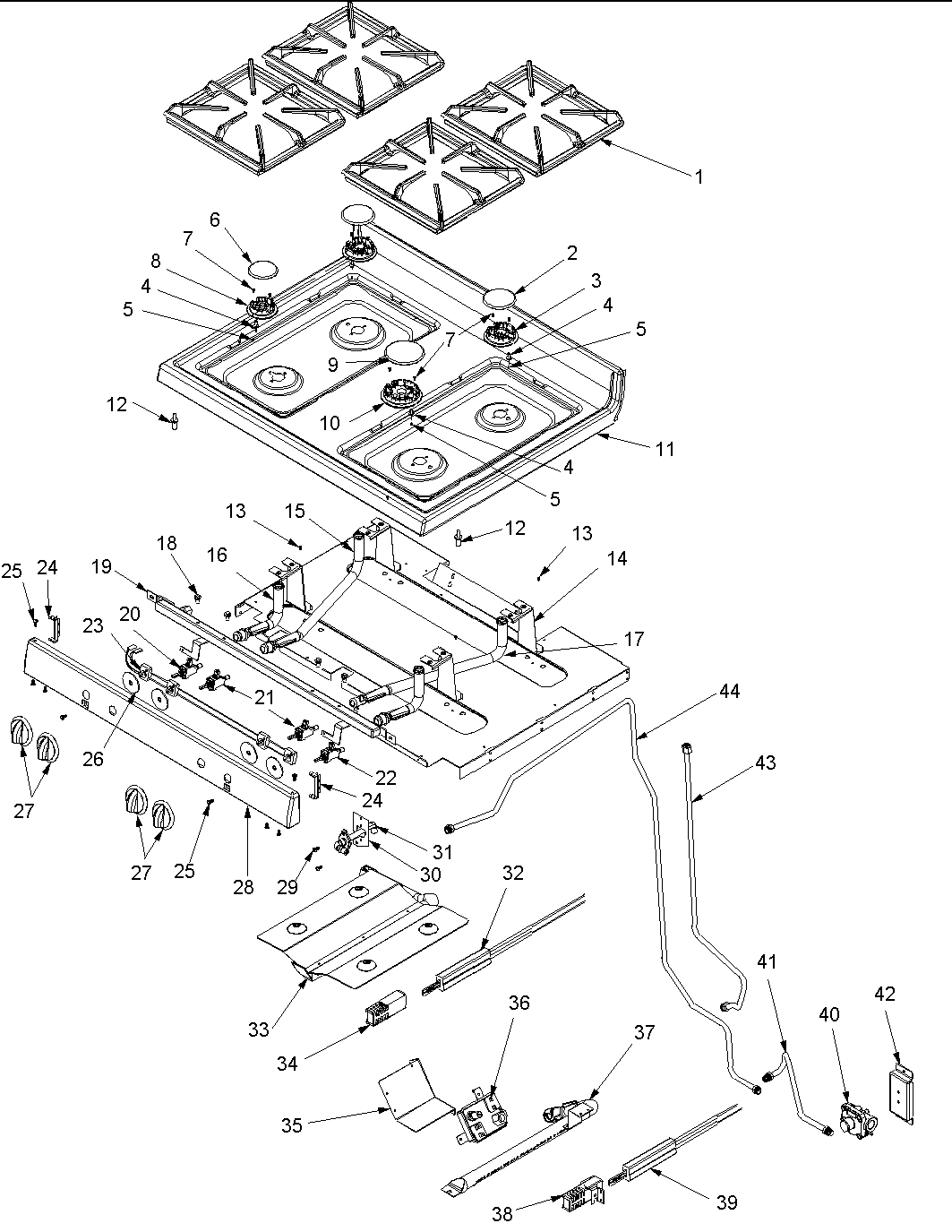 hight resolution of acf3325aw gas range maintop and gas supply parts diagram