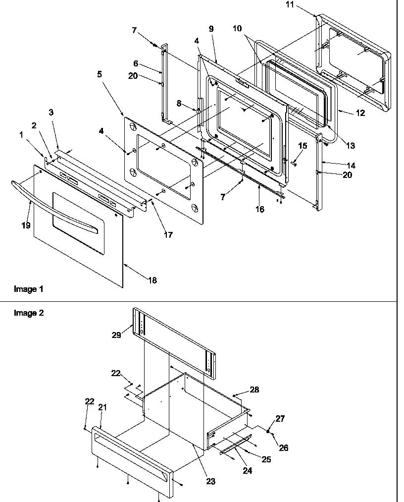 hight resolution of arg7600ll gas range oven door and storage door parts diagram